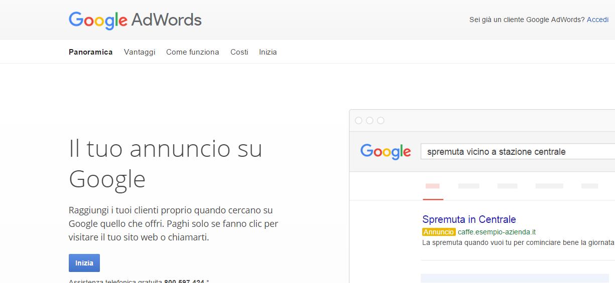 Google AdWords Pubblicità online pay per click di Google